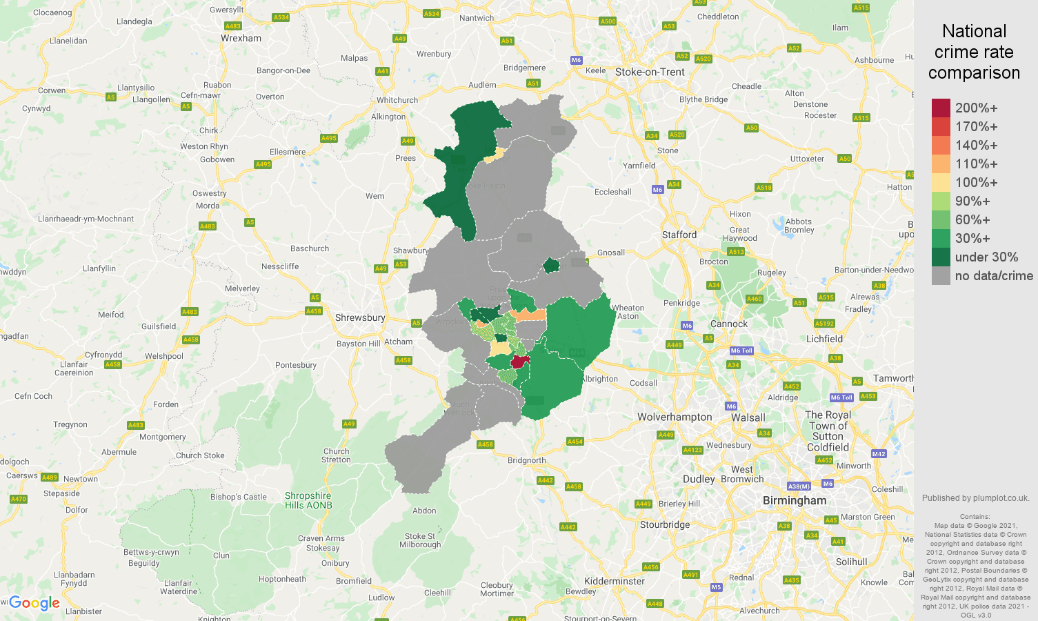 Telford robbery crime rate comparison map