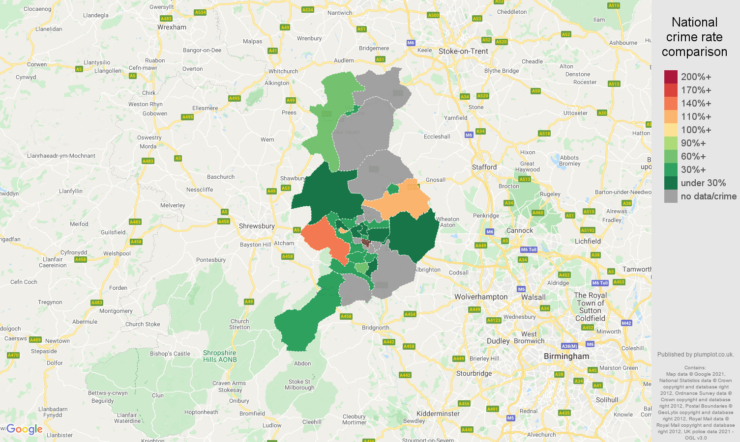 Telford theft from the person crime rate comparison map