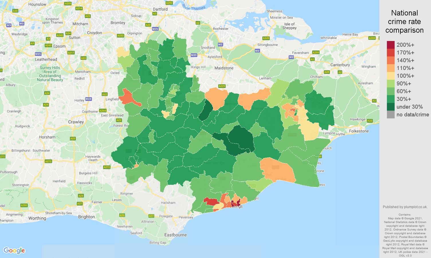 Tonbridge antisocial behaviour crime rate comparison map
