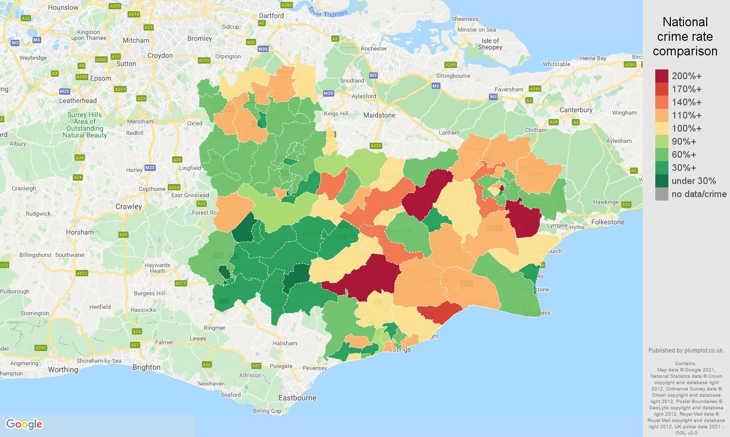 Tonbridge burglary crime rate comparison map