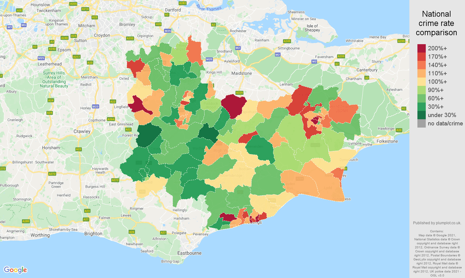 Tonbridge criminal damage and arson crime rate comparison map