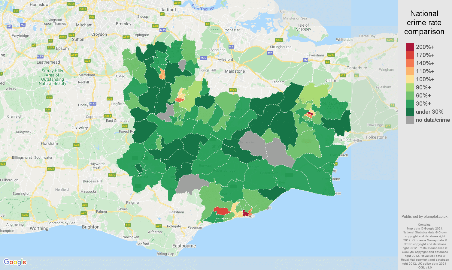 Tonbridge drugs crime rate comparison map