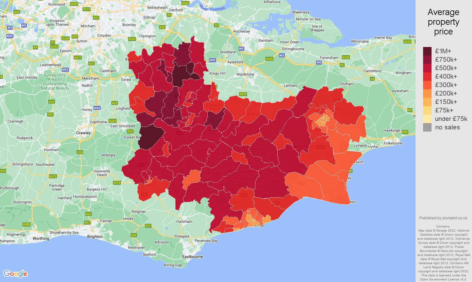 Tonbridge house prices map