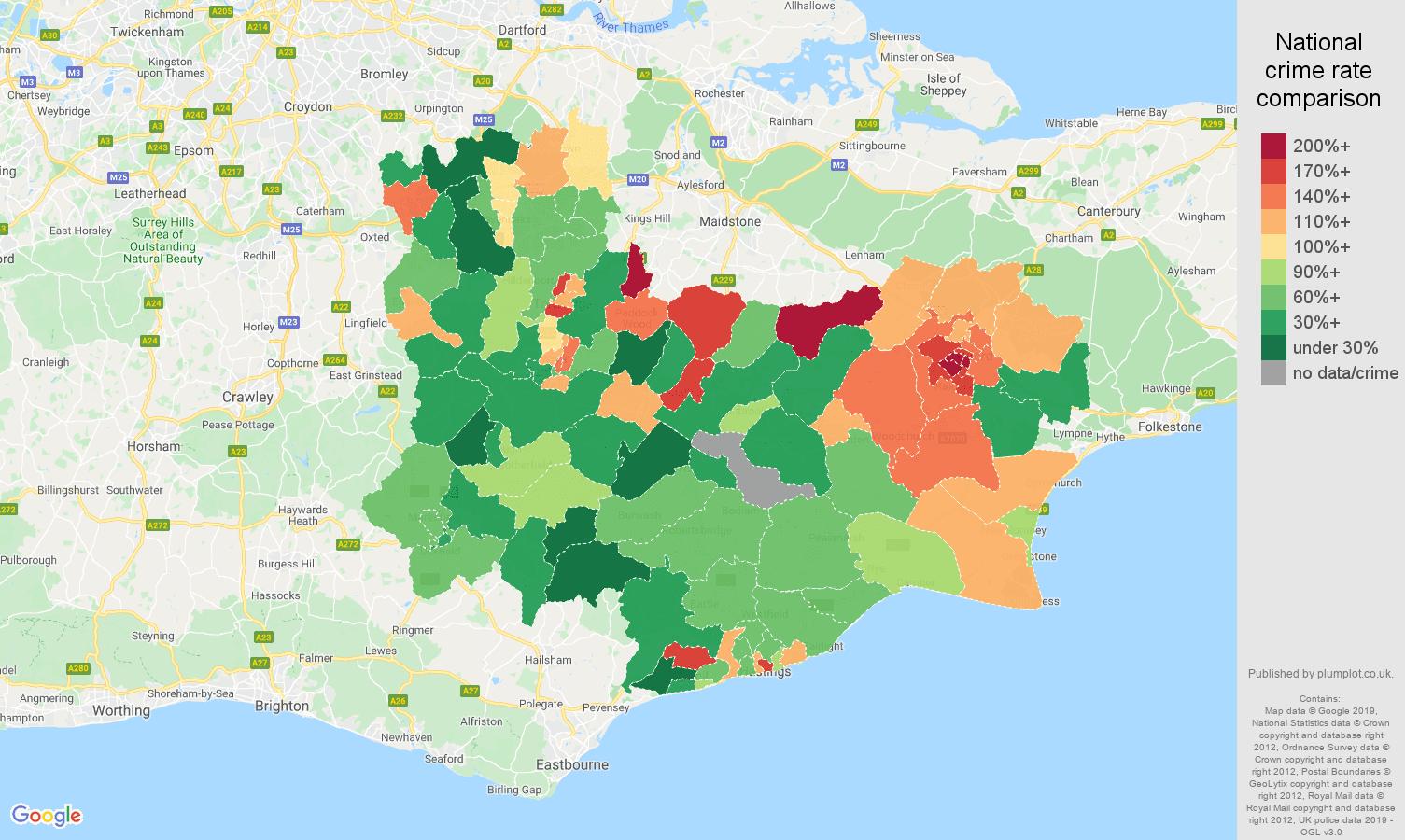 Tonbridge other crime rate comparison map