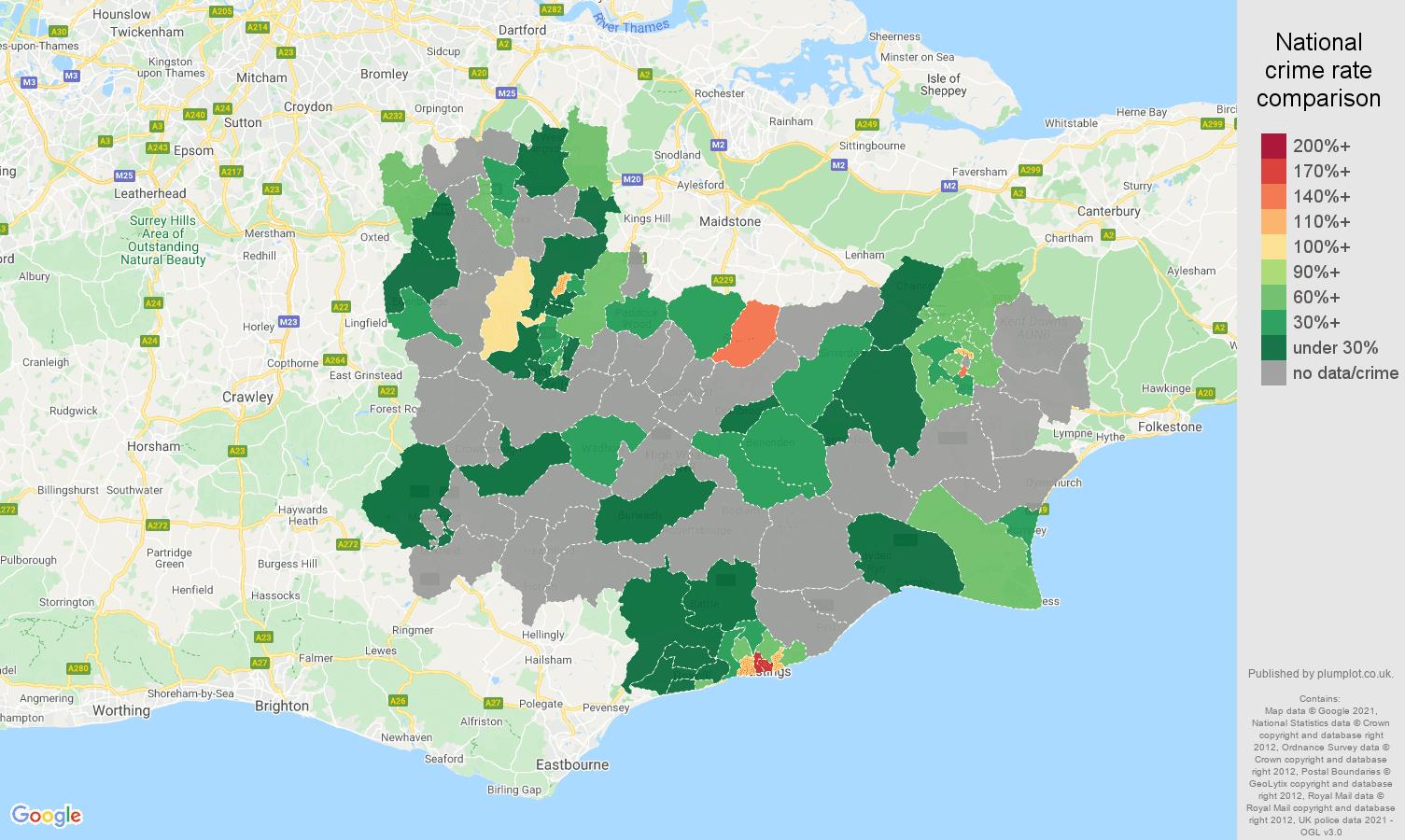 Tonbridge robbery crime rate comparison map