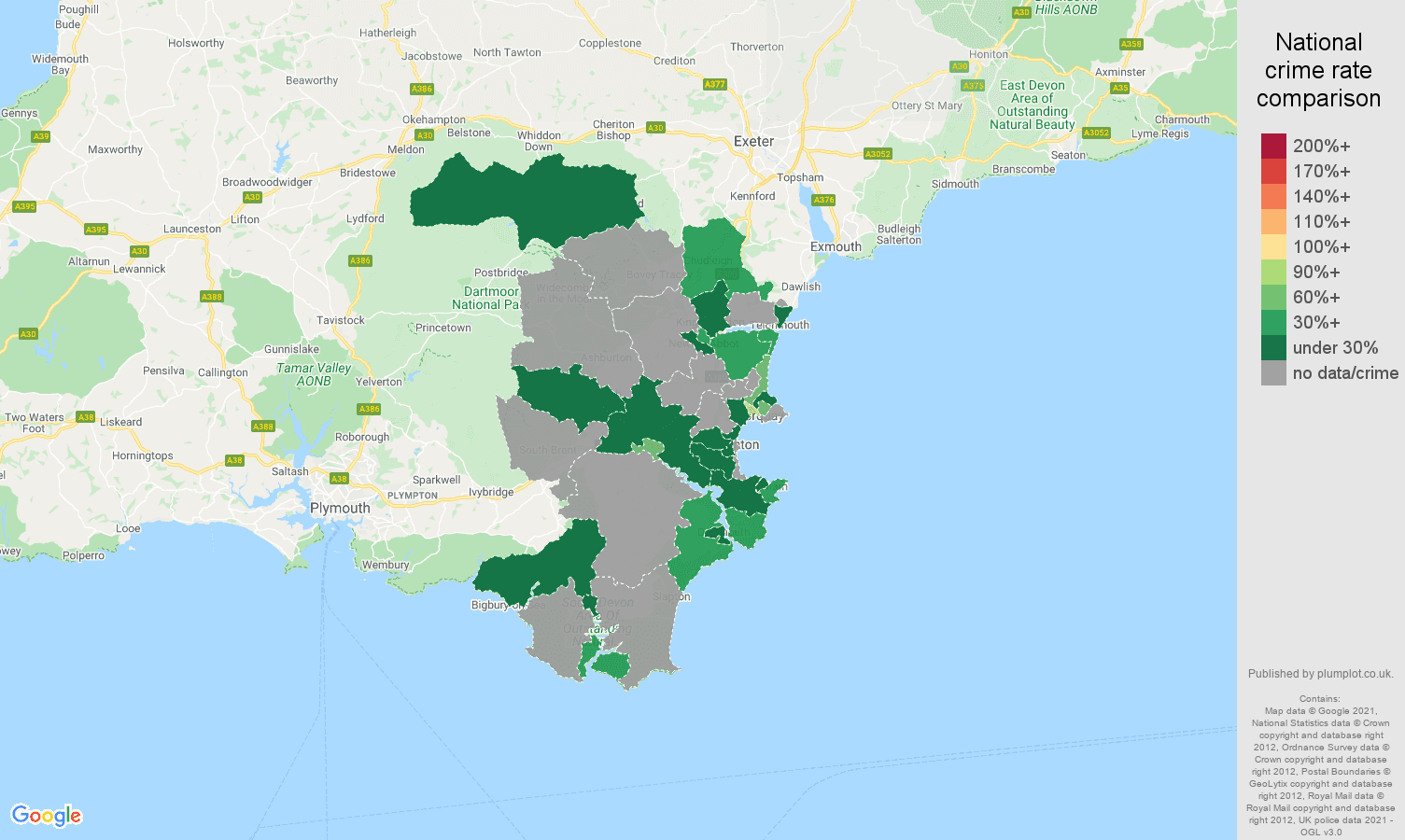 Torquay bicycle theft crime rate comparison map