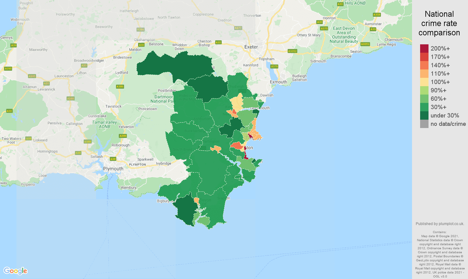 Torquay drugs crime rate comparison map