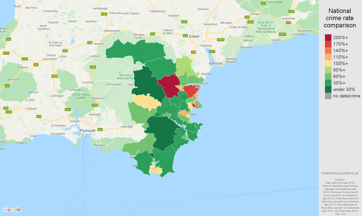 Torquay other crime rate comparison map