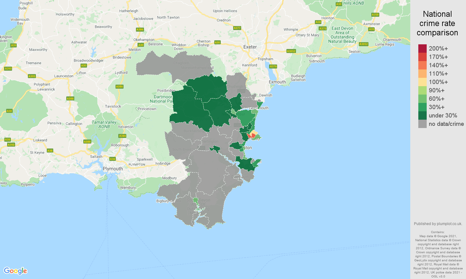 Torquay robbery crime rate comparison map