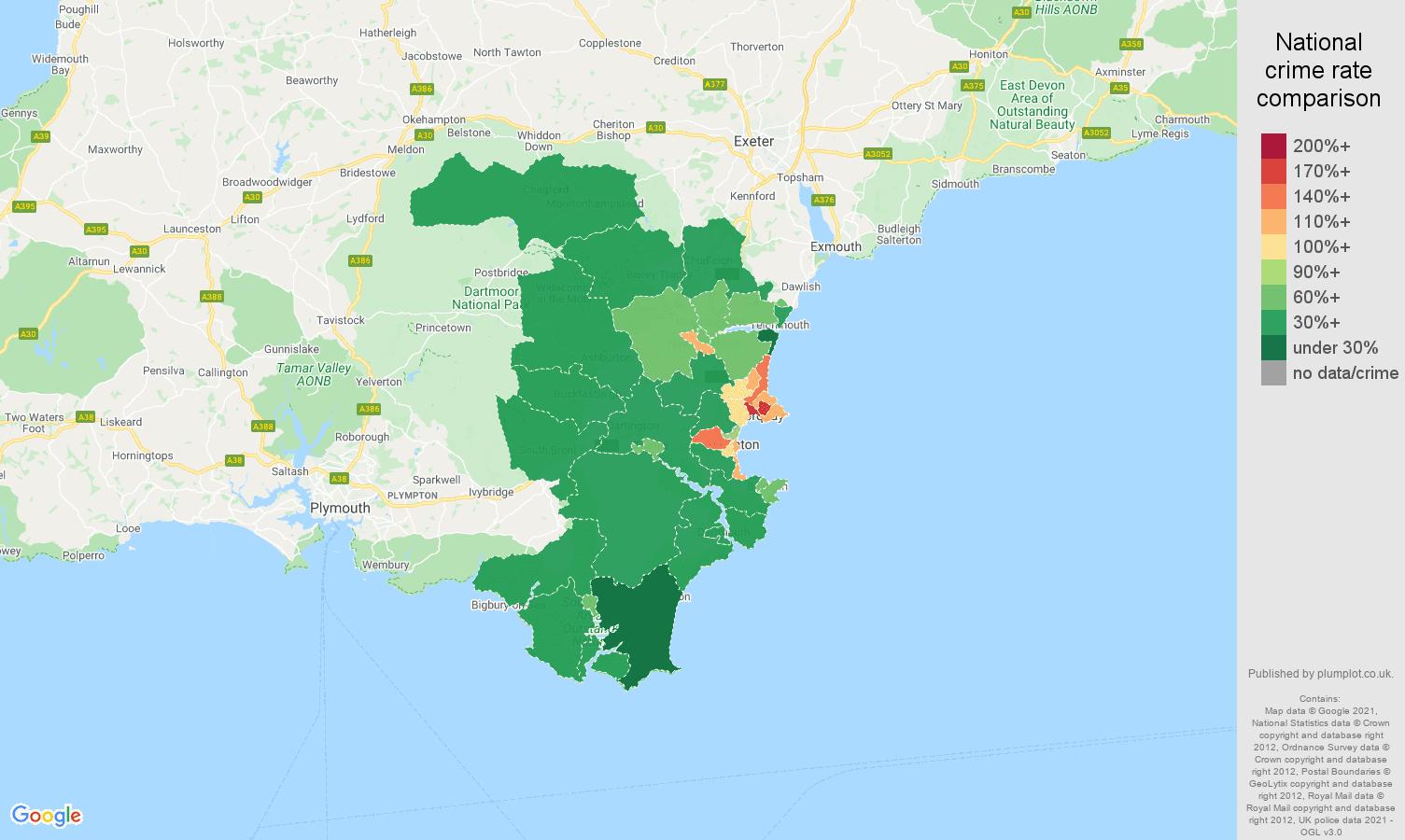 Torquay violent crime rate comparison map