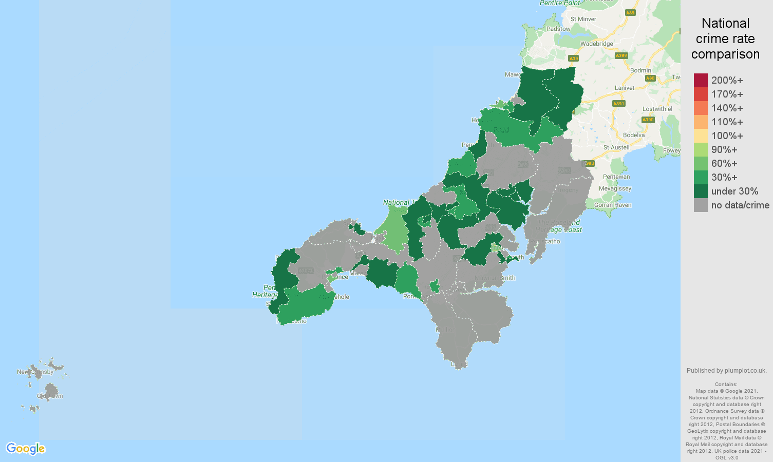 Truro bicycle theft crime rate comparison map