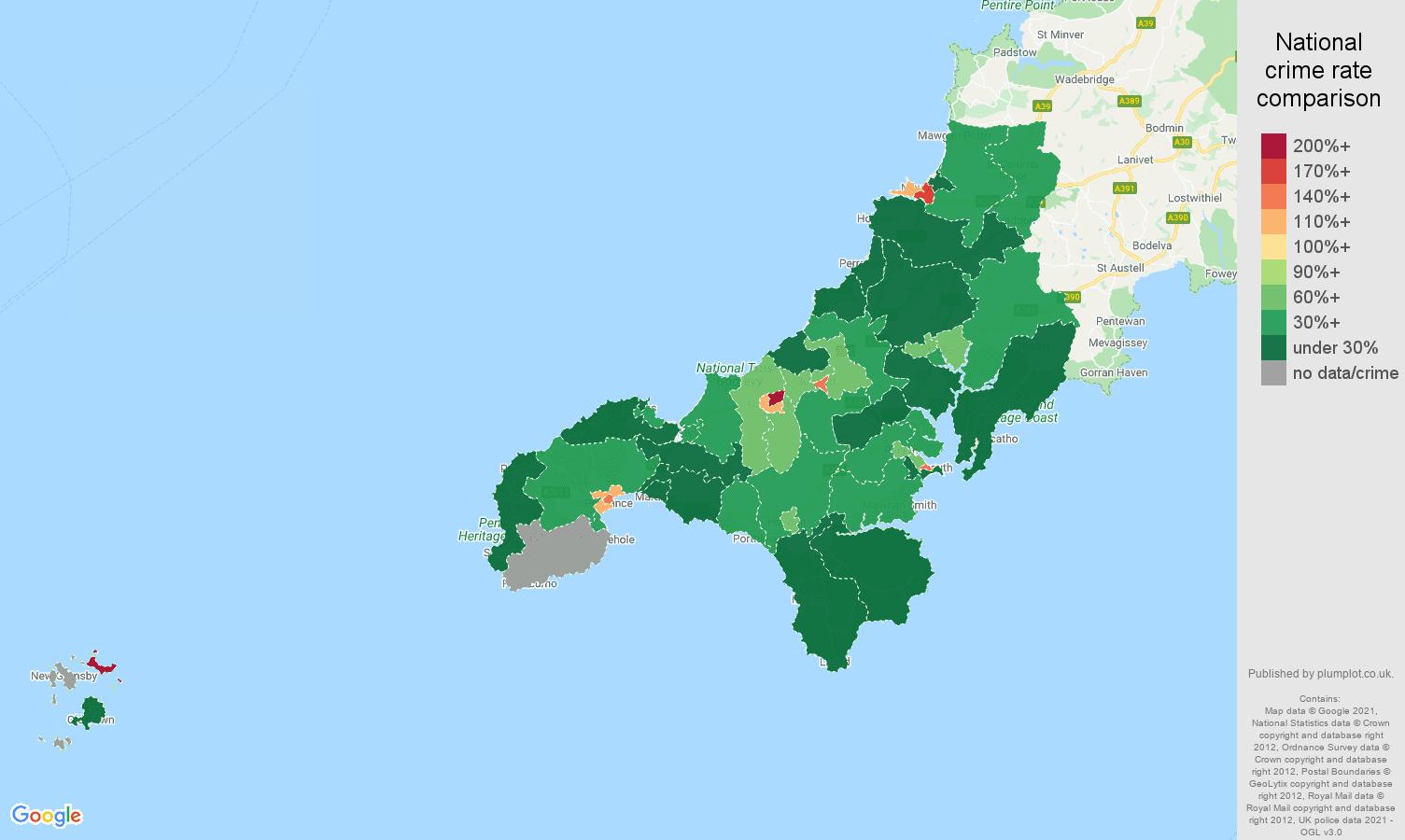 Truro drugs crime rate comparison map