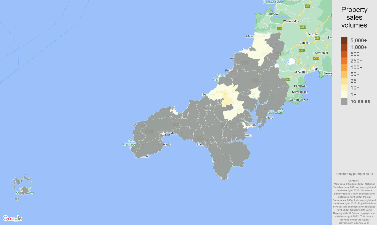 Truro map of sales of new properties