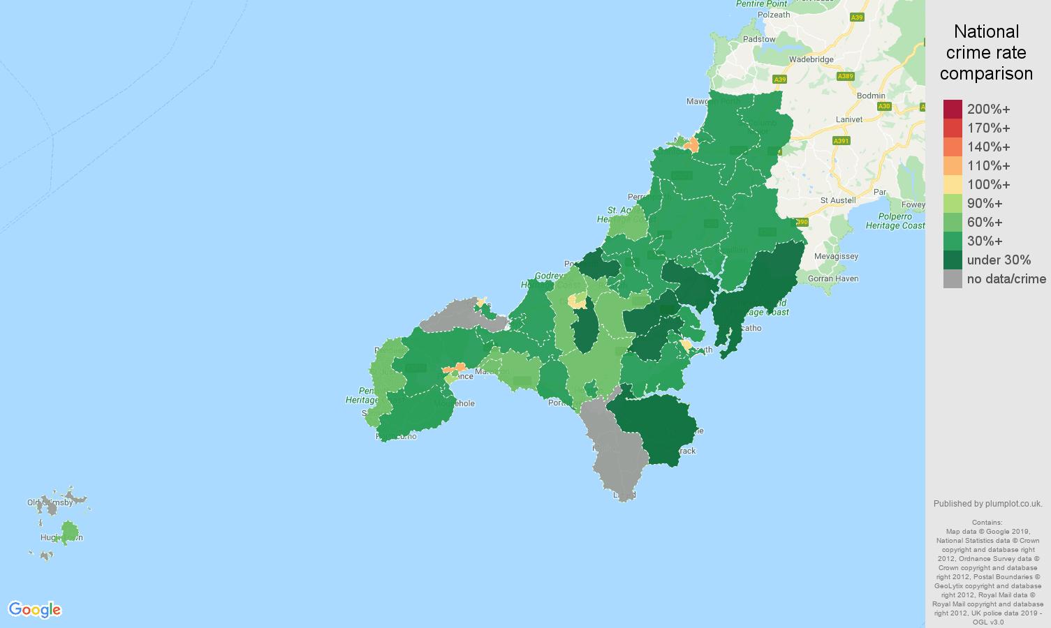Truro other crime rate comparison map