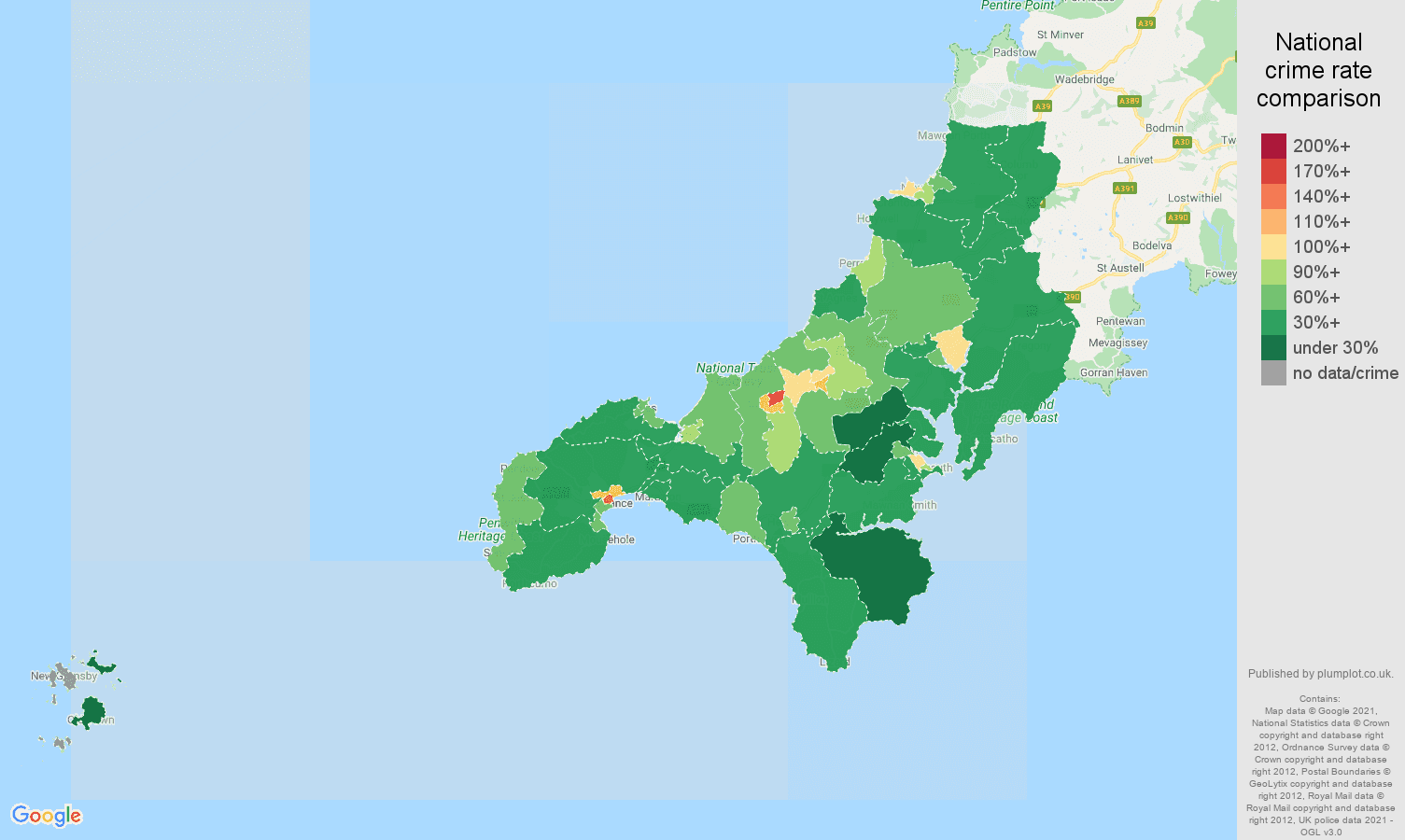 Truro violent crime rate comparison map