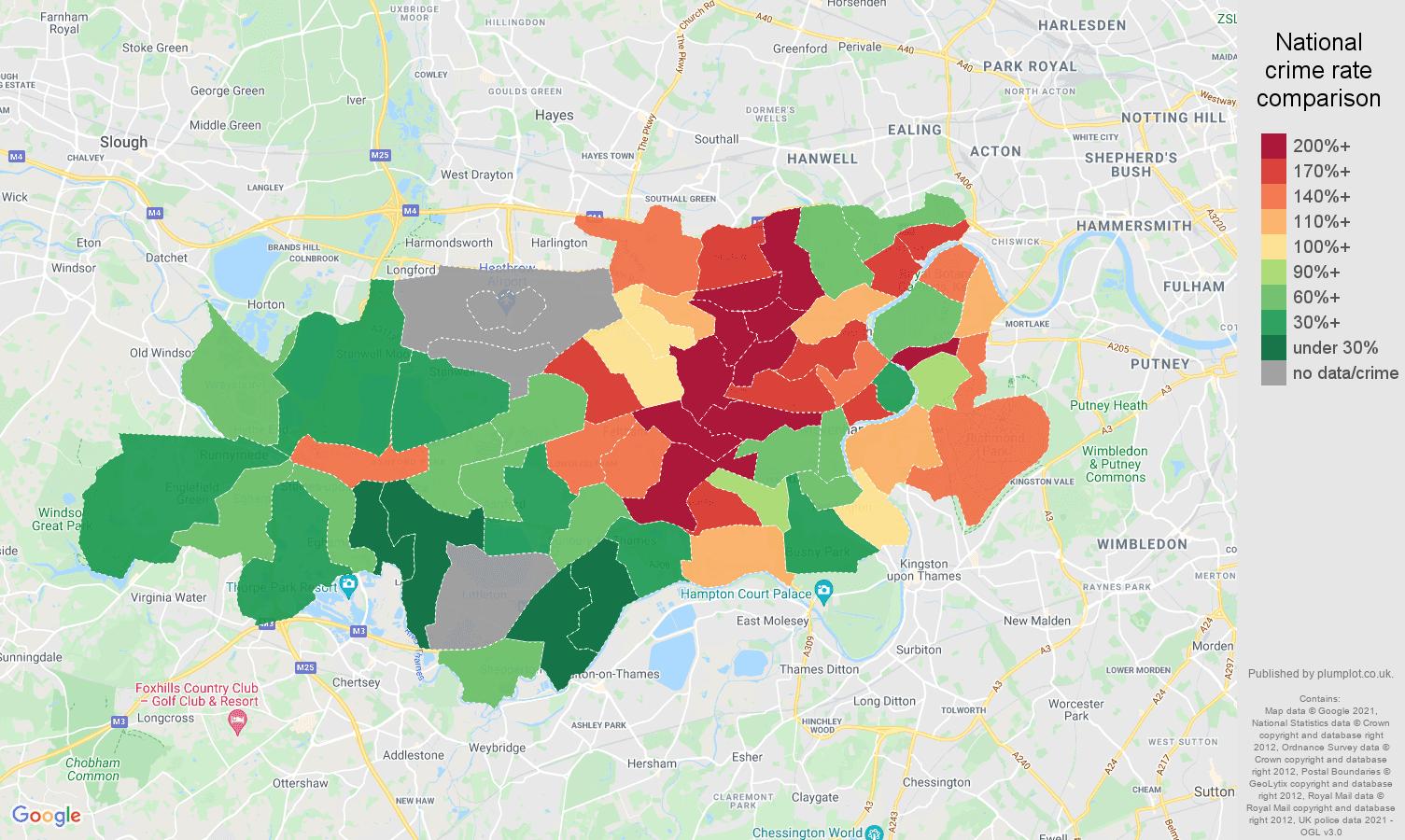 Twickenham robbery crime rate comparison map