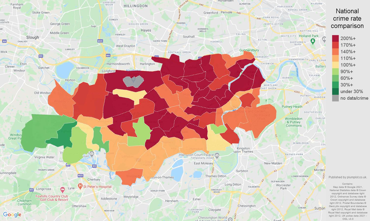 Twickenham vehicle crime rate comparison map