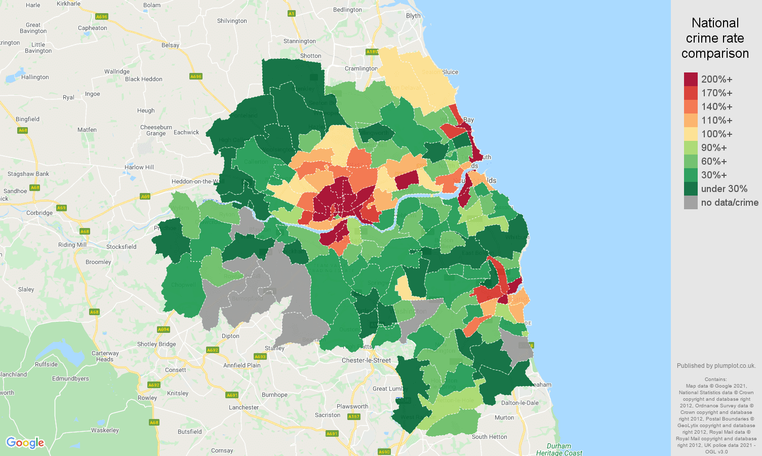 Tyne and Wear bicycle theft crime rate comparison map