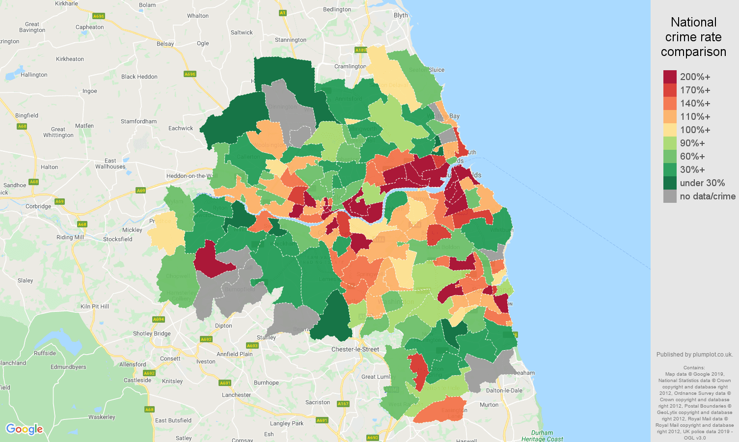 Tyne and Wear possession of weapons crime rate comparison map