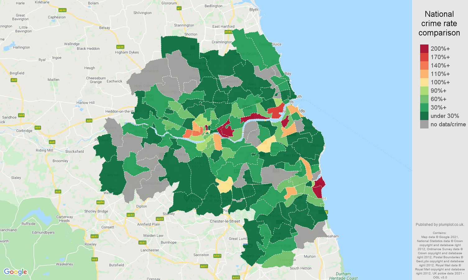 Tyne and Wear robbery crime rate comparison map