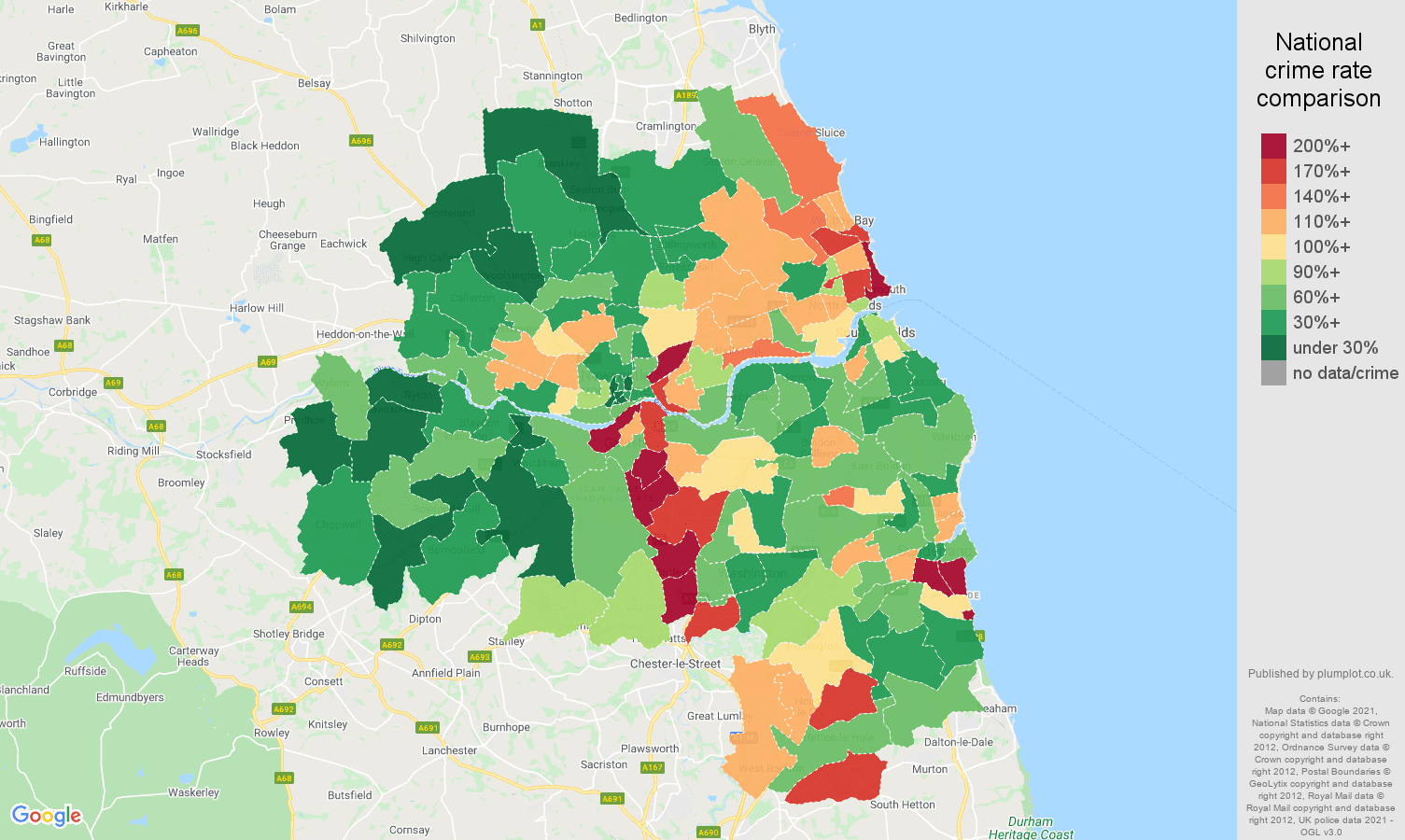 Tyne and Wear vehicle crime rate comparison map