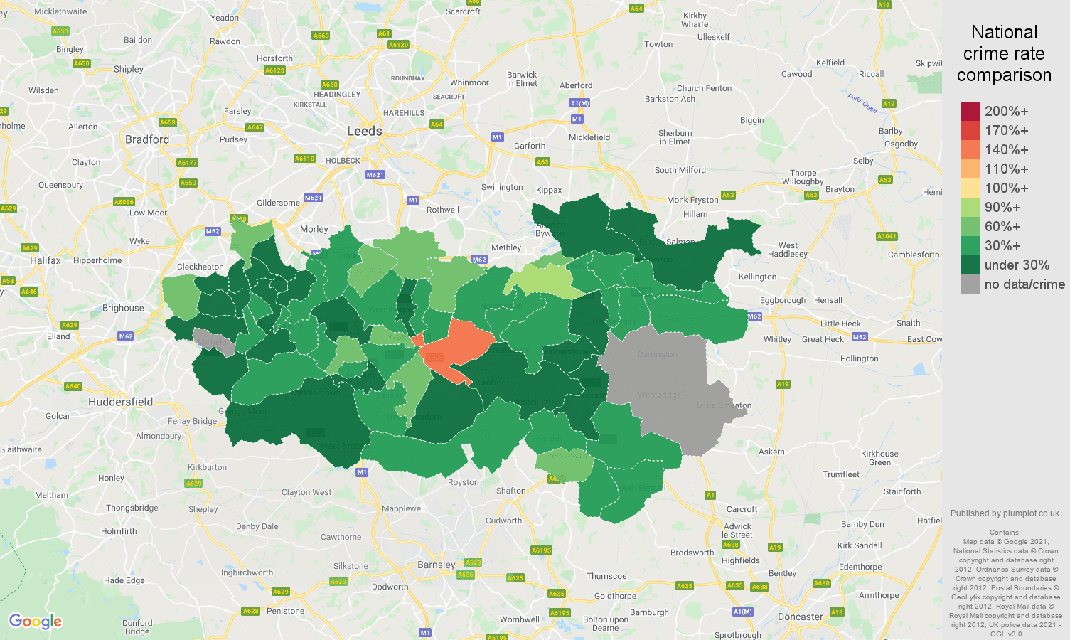 Wakefield bicycle theft crime rate comparison map