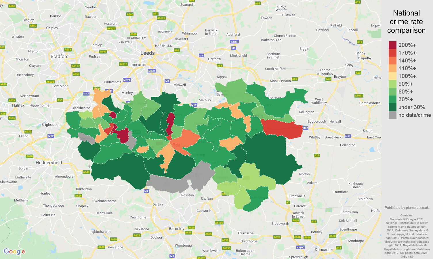 Wakefield robbery crime rate comparison map