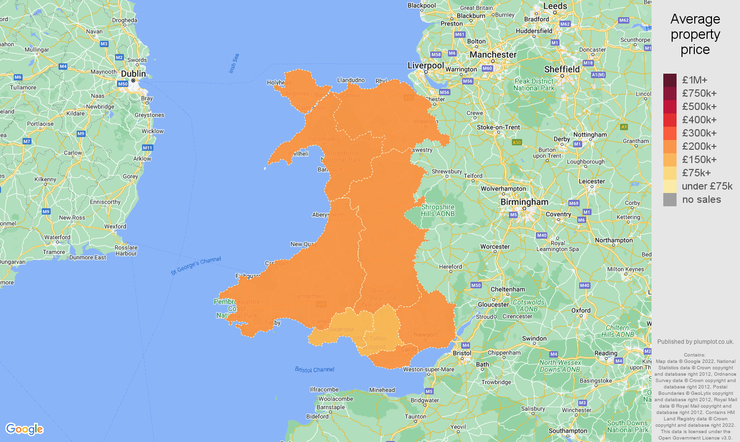 Wales house prices map