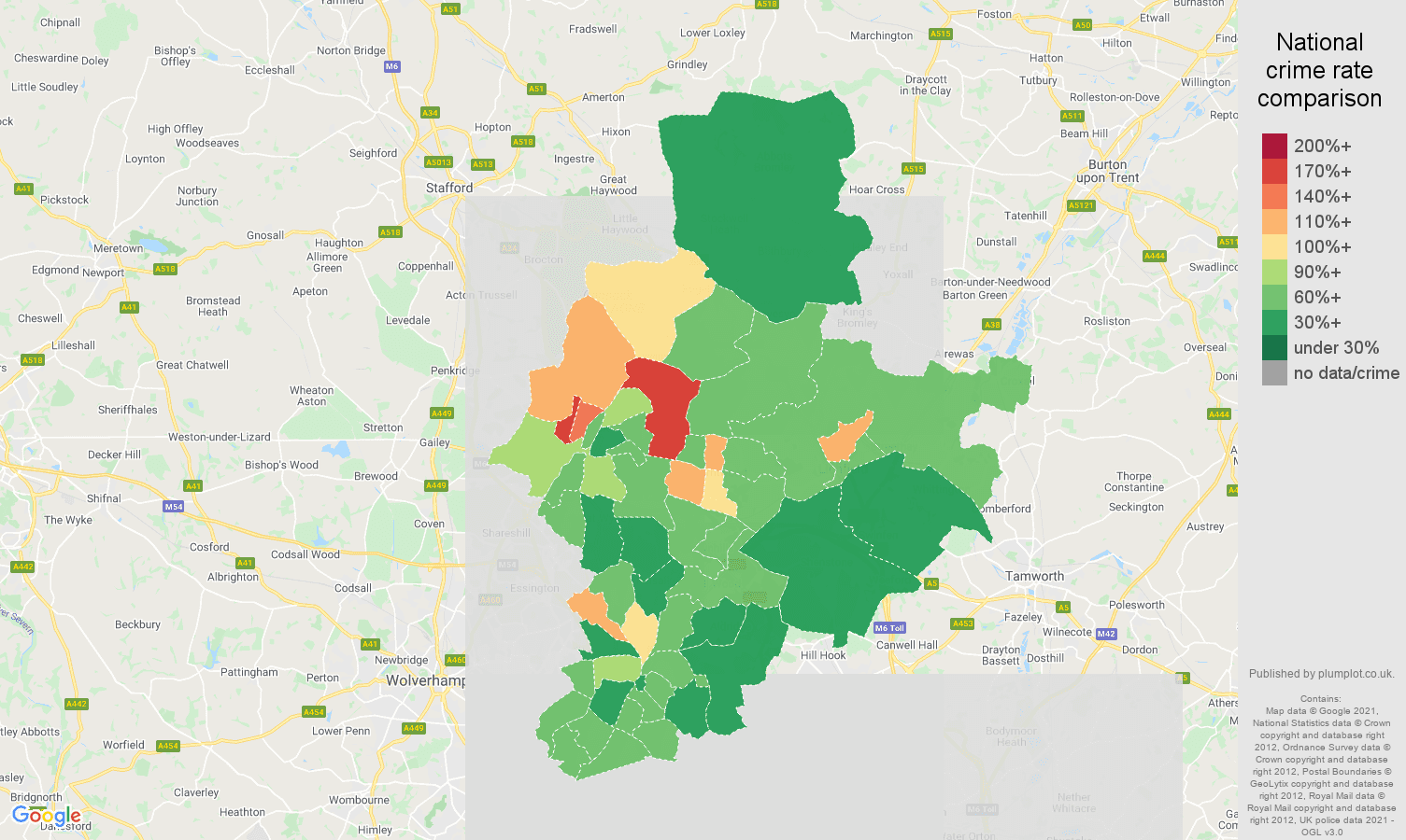 Walsall antisocial behaviour crime rate comparison map
