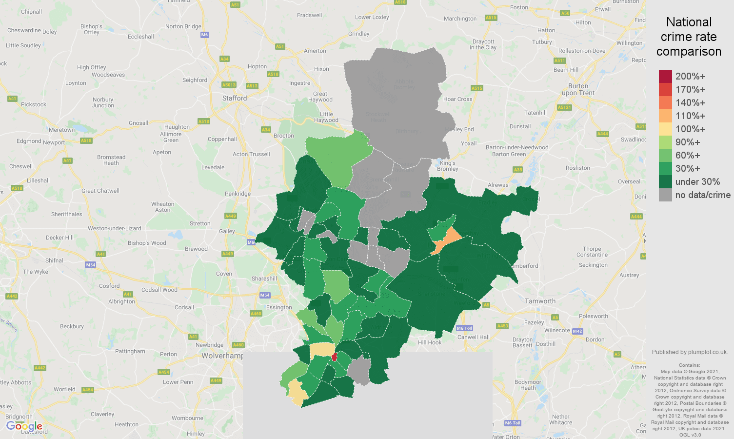 Walsall bicycle theft crime rate comparison map