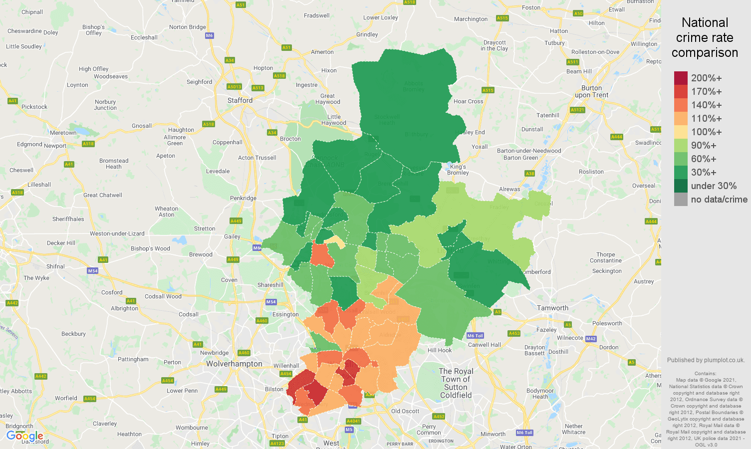 Walsall burglary crime rate comparison map