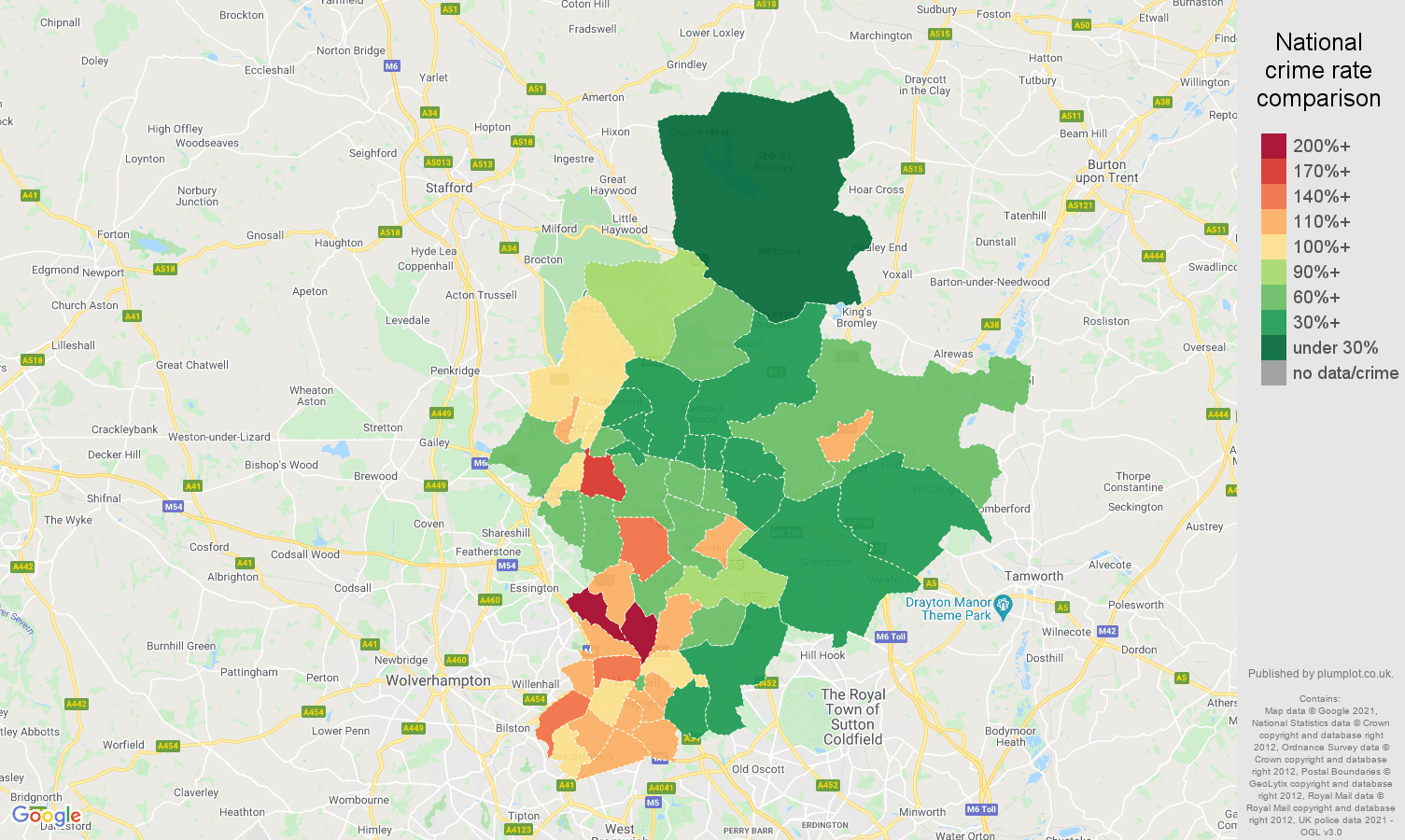 Walsall criminal damage and arson crime rate comparison map