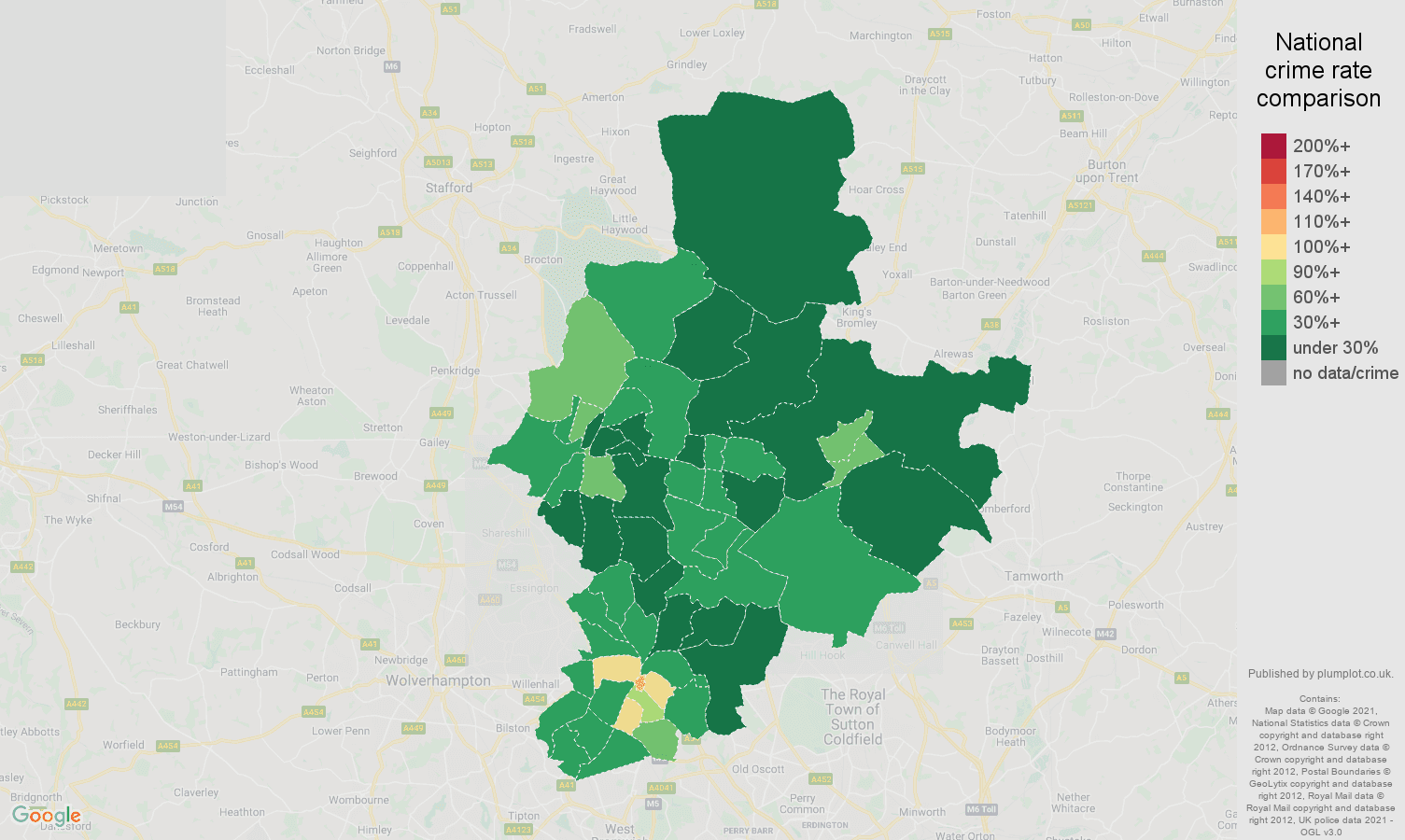 Walsall drugs crime rate comparison map