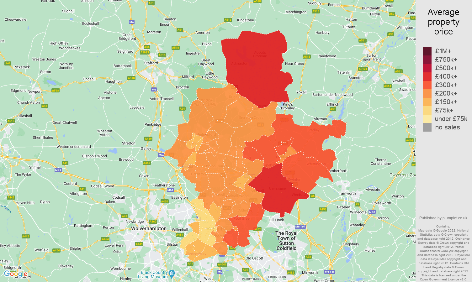 Walsall house prices map