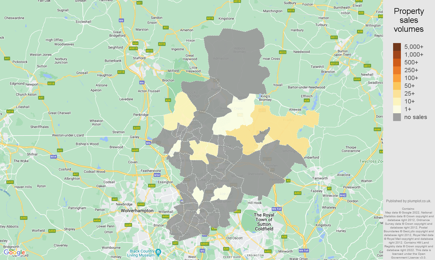 Walsall map of sales of new properties