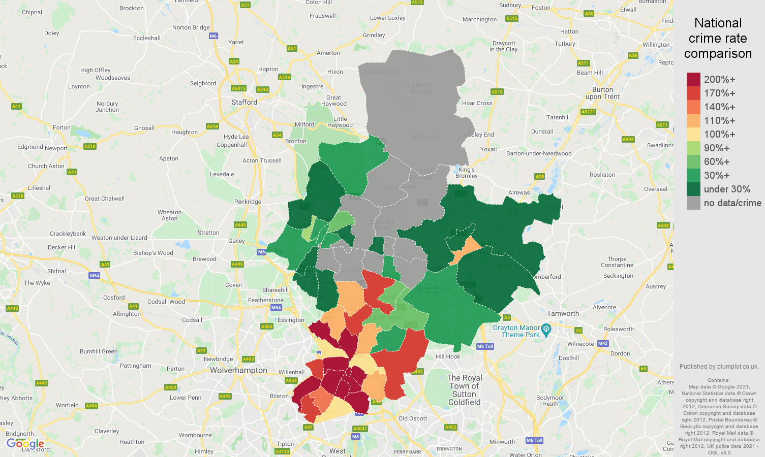 Walsall robbery crime rate comparison map