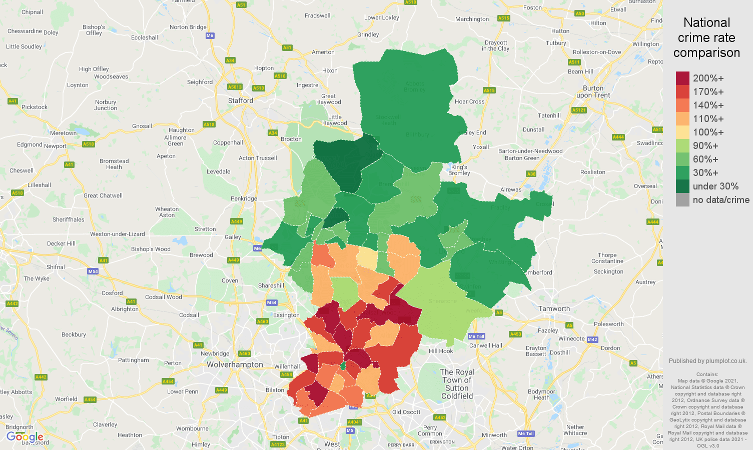 Walsall vehicle crime rate comparison map
