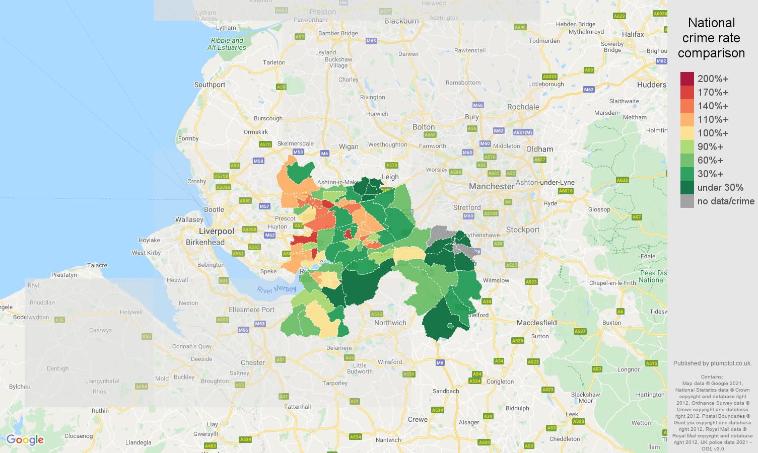 Warrington antisocial behaviour crime rate comparison map