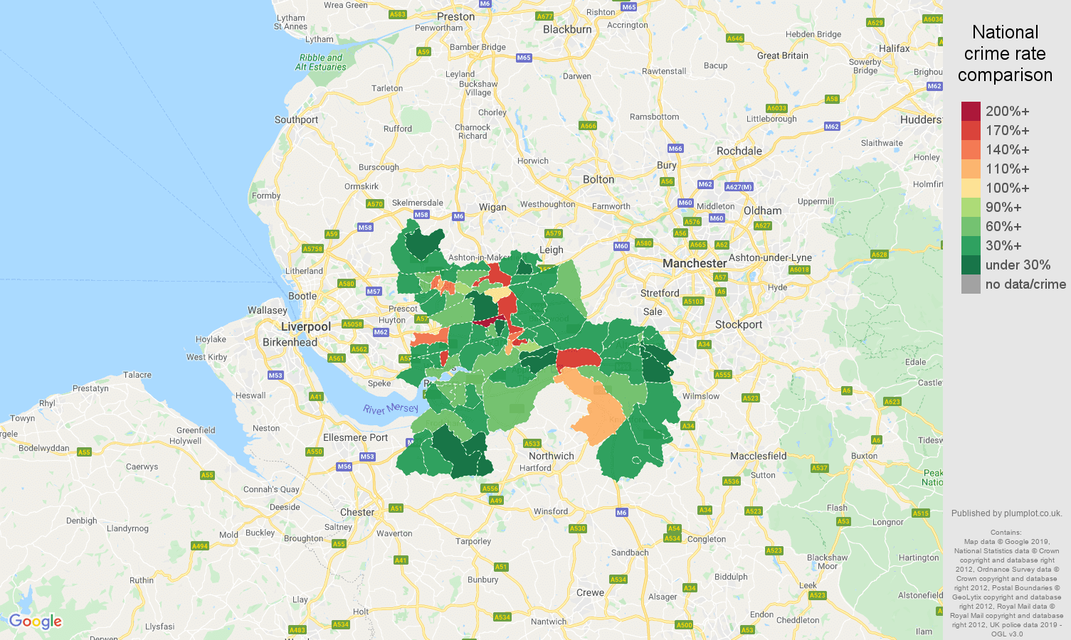 Warrington other theft crime rate comparison map