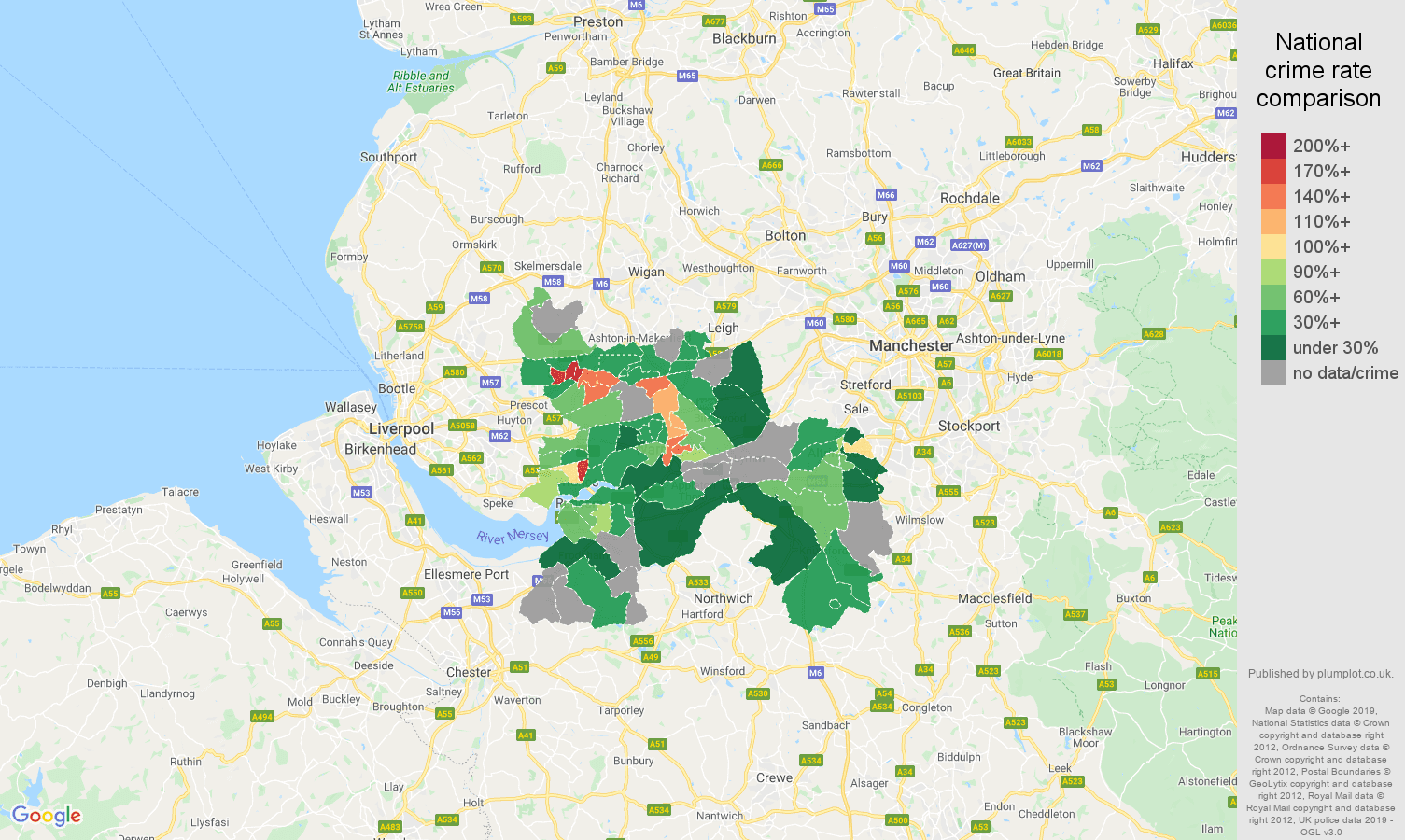 Warrington possession of weapons crime rate comparison map