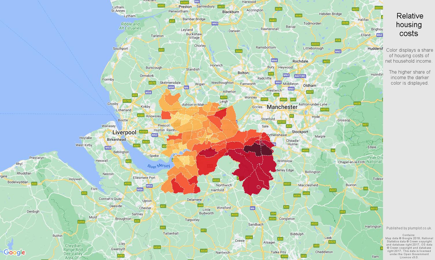 Warrington relative housing costs map