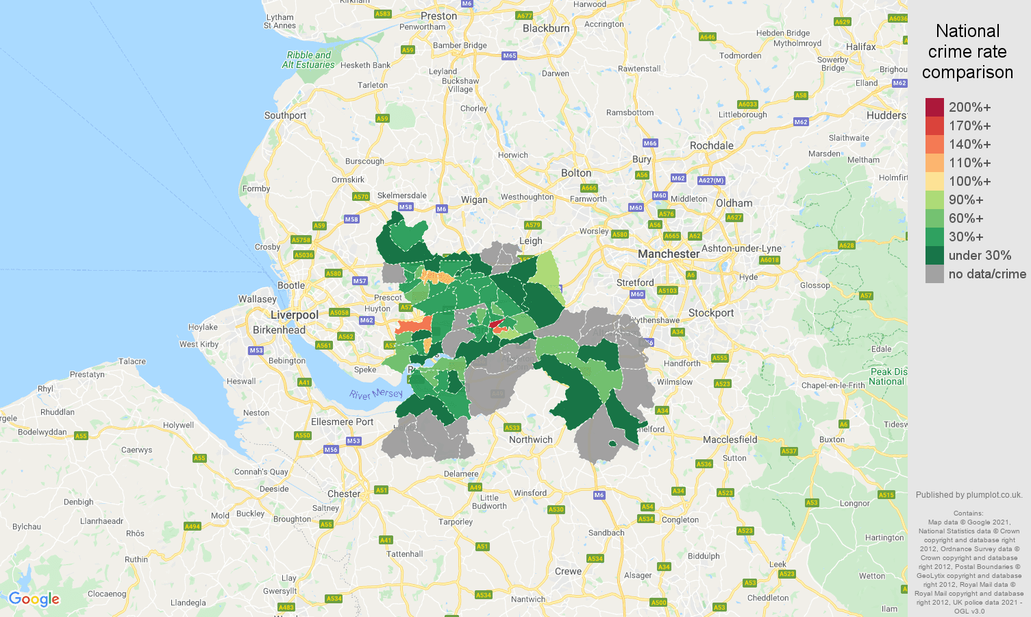 Warrington robbery crime rate comparison map