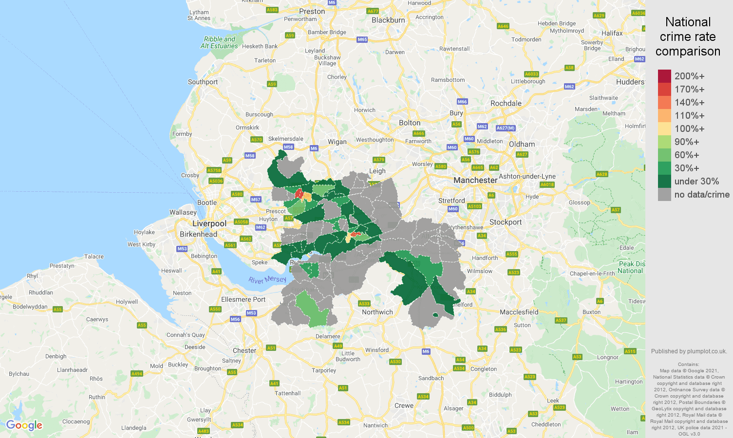 Warrington theft from the person crime rate comparison map