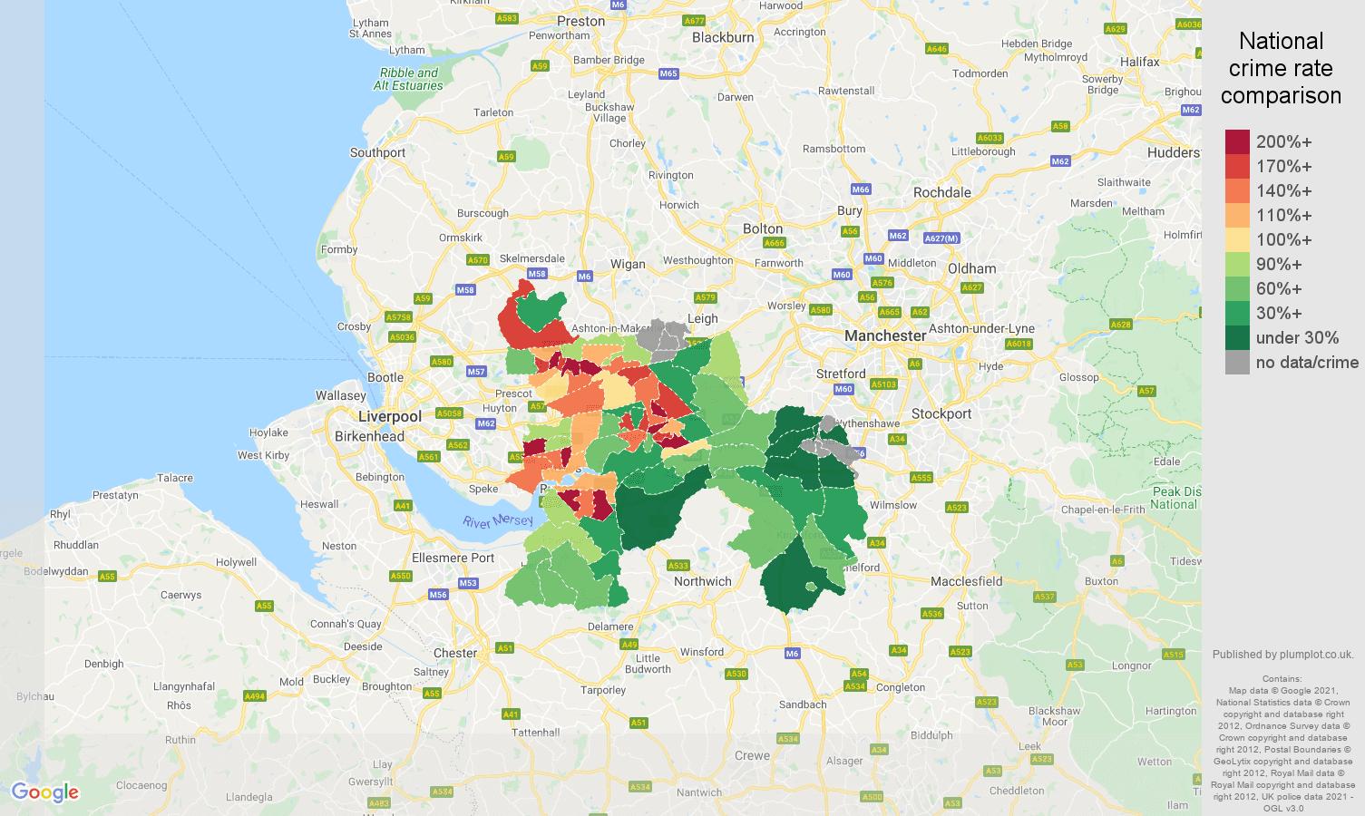 Warrington violent crime rate comparison map
