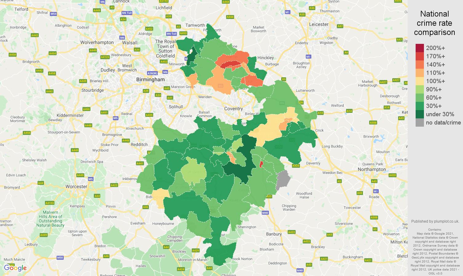 Warwickshire criminal damage and arson crime rate comparison map