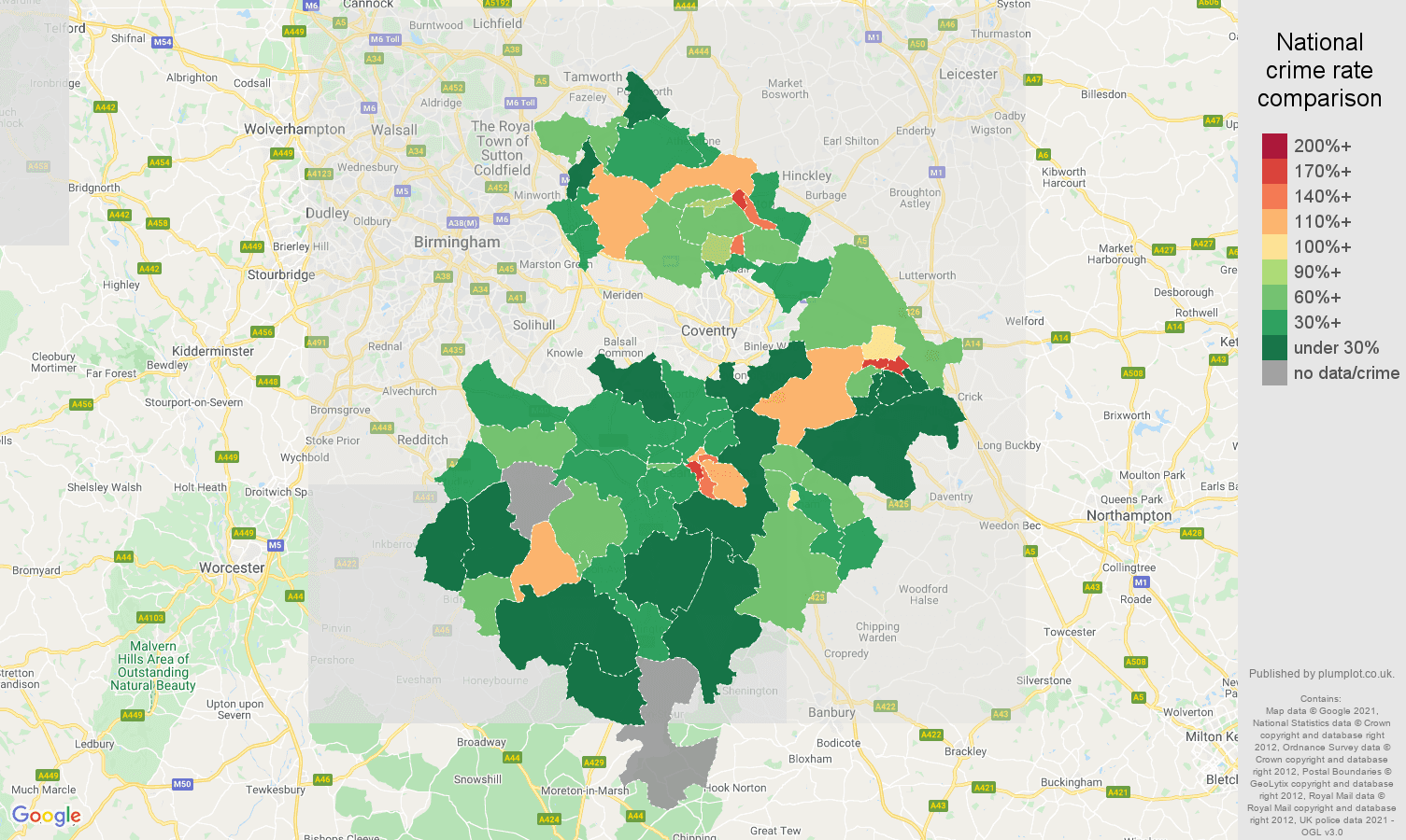 Warwickshire drugs crime rate comparison map