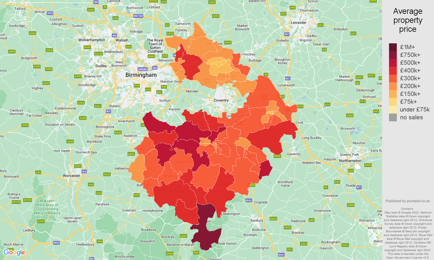 Warwickshire house prices map