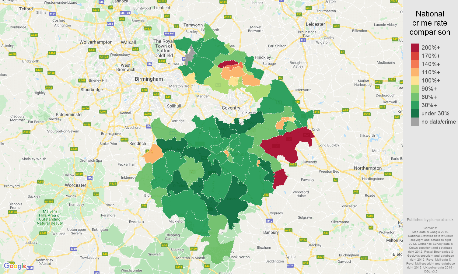 Warwickshire other crime rate comparison map