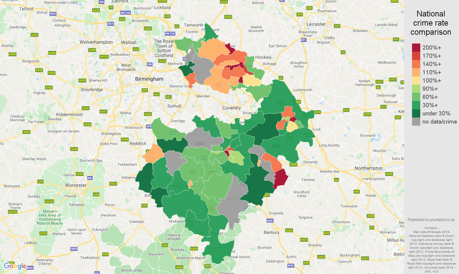 Warwickshire possession of weapons crime rate comparison map