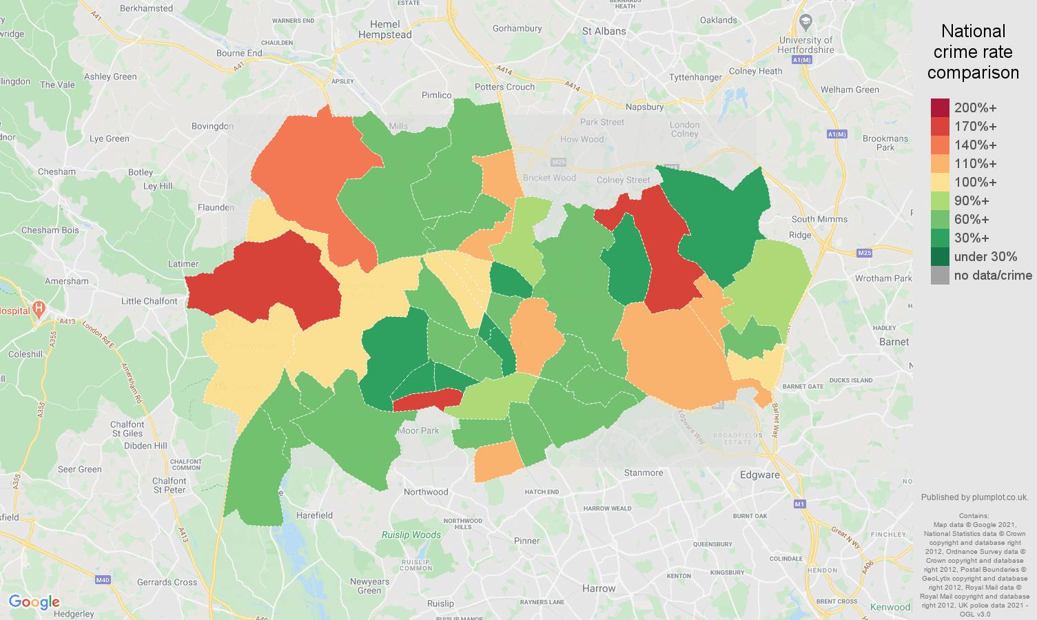 Watford burglary crime rate comparison map